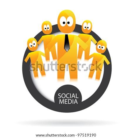 social networking color abstract logo. vector illustration of social media.