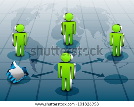 Social networking 3D background with peoples standing on world map networking and connected with thumb up or like button. EPS 10.