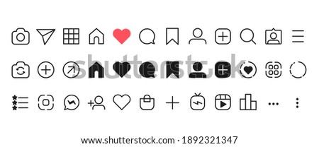 Social networking icon set. Like, comment, send, saved, statistics and other icon. Outline and black vector illustration ストックフォト ©