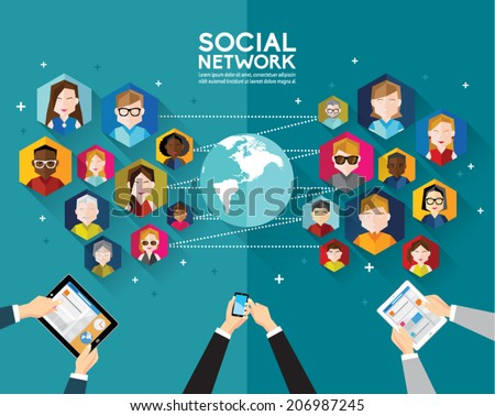 Social Networking People Conceptual Vector Design