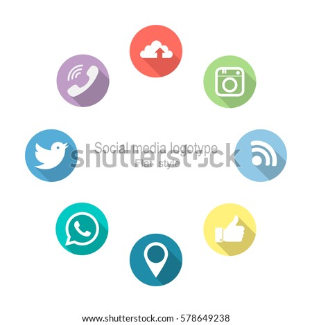 Social networking. Set Icons. Vector illustration. Flat style