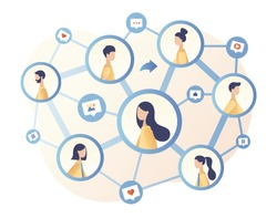 Social Networking. Social media. Share concept. Tiny people communicate sharing data, photos, links, posts and news in social networks. Modern flat cartoon style. Vector illustration