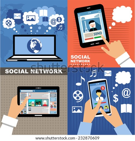 Social Networks. Blogs. Internet communication. vector #232870609