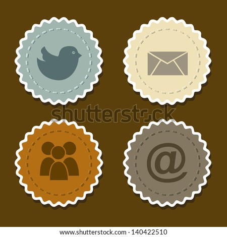 social networks icons over brown background vector illustration