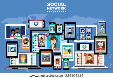 Social Networks. Internet communication. vector #224504254