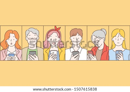 Social networks, message, communication concept. People read news on a mobile phone with different facial expressions - surprise, grief, happiness, joy, shock, wow, indifference. Simple flat vector.