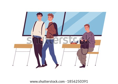 Social outcast. Wealthy and poor children at school. Communication difficulty and ignoring. Community's rejection. Richness vs poverty inequality concept. Flat vector illustration Foto stock ©