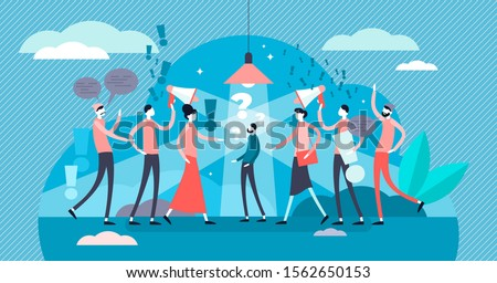 Social pressure vector illustration. Society attack in flat tiny person concept. Crowd opinion as opposite of individual. Emotional stress, abuse or harassment victim in spotlight. Verbal attack scene Сток-фото ©