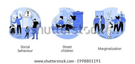 Social problems abstract concept vector illustration set. Social behaviour, street children, marginalization, youth abuse, gang fighting, domestic violence, school bullying, outcast abstract metaphor. Foto stock ©