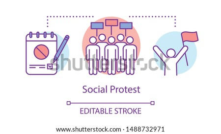 Social protest concept icon. Public demonstration, government manifestation idea thin line illustration. Protesters with placards, notepad and activist vector isolated outline drawing. Editable stroke