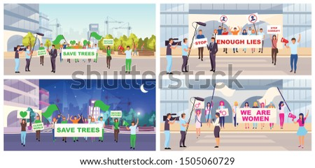Social protests flat vector illustrations set. Feminist movement, save trees demonstration. Protesters, activists with placards cartoon characters. Street protest actions, meetings, manifestation