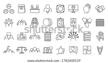 Social responsibility icons set. Outline set of social responsibility vector icons for web design isolated on white background