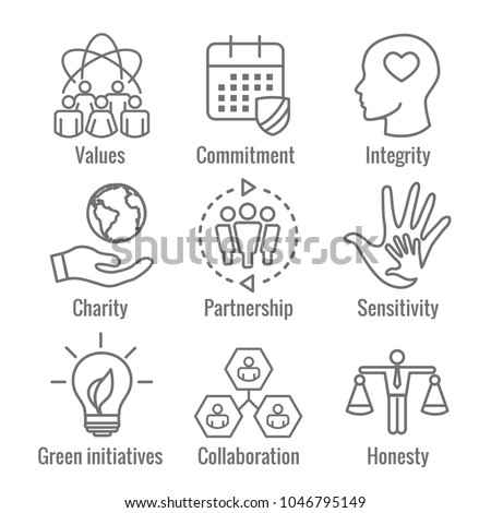 Social Responsibility Outline Icon Set with Honesty, integrity, & collaboration, etc  Stock photo ©