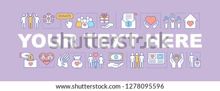 Social responsibility word concepts banner. Charity and volunteering. Your text here. Charitable organization. Social benefits and welfare. Isolated lettering typography. Vector outline illustration