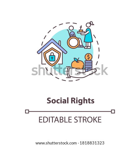 Social rights concept icon. Socio economic rights idea thin line illustration. Basic human needs. Right to housing and education. Vector isolated outline RGB color drawing. Editable stroke Zdjęcia stock ©