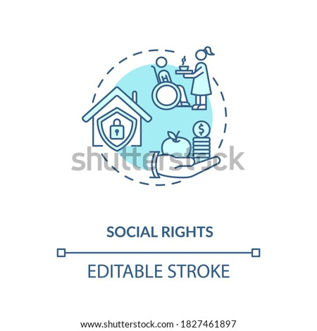 Social rights concept icon. Socio economic rights idea thin line illustration. Right to private housing and medical care. Vector isolated outline RGB color drawing. Editable stroke Zdjęcia stock ©