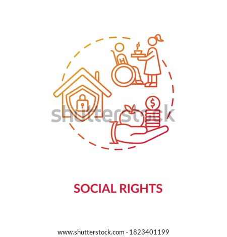 Social rights concept icon. Socioeconomic human rights idea thin line illustration. Social insurance. Human needs support. Desegregation. Vector isolated outline RGB color drawing Zdjęcia stock ©