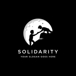 Social Solidarity friendship logo vector illustration template on black background, a boy helping others to reach the top
