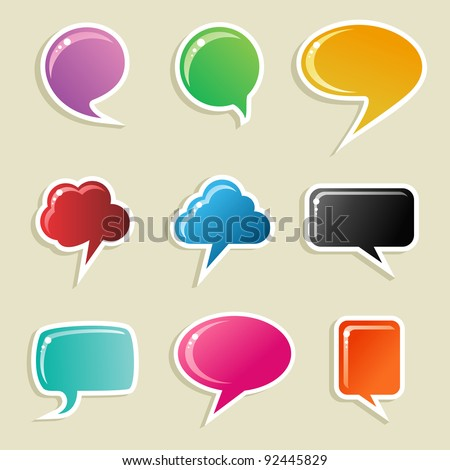 Social speech bubbles in different colors and forms illustration set. Vector file available.