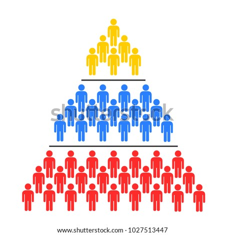 Social stratification - Vertical hiercarchy in the society - upper, midlle and lower classes and castes as inferiorty and superiority. Inferior / superior position. Vector illustration