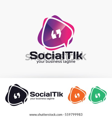 Social Talk, app, forum, social media. Vector logo template