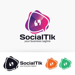 Social talk logo design. Communication and Online chat logo concept. Vector logo template