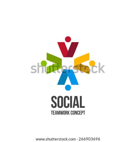 Social Teamwork icon.Circle of friends. Network Logo design.
