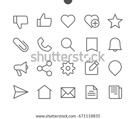 Social UI Pixel Perfect Well-crafted Vector Thin Line Icons 48x48 Ready for 24x24 Grid for Web Graphics and Apps with Editable Stroke. Simple Minimal Pictogram Part 2-3