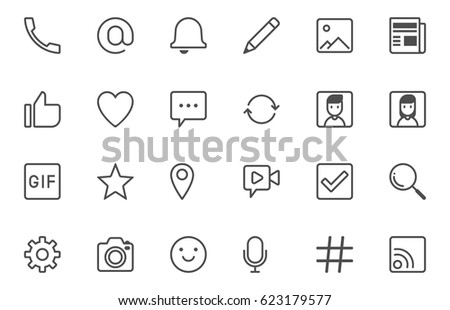 social vector icons set with stroke style