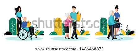 Social workers taking care about seniors people. Vector flat cartoon illustration. Volunteer young people help elderly people walk, ride wheelchair and shop.