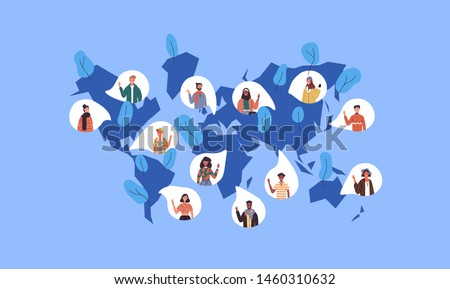 Social world map illustration with diverse international people icons from worldwide cultures. Multi ethnic women and men crowd for global communication or chat network concept.