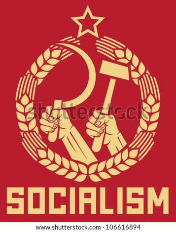socialism poster  hands holding