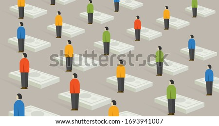 Socialist people standing with their money, universal basic income concept Foto stock ©