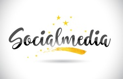 Socialmedia Word Text with Golden Stars Trail and Handwritten Curved Font Vector Illustration.