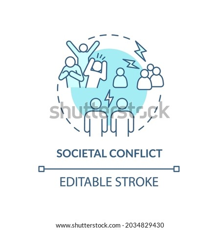 Societal conflict blue concept icon. Relationships in society. Relations in groups. Conflict management abstract idea thin line illustration. Vector isolated outline color drawing. Editable stroke Foto d'archivio ©