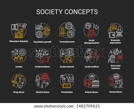 Society chalk concept icons set. Social issues, behavioral problems idea. Violence and abuse, unemployment, crimes. Social conflicts. Vector isolated chalkboard illustration