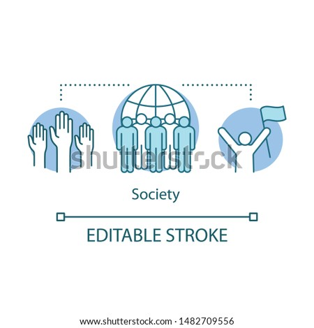 Society concept icon. Social integration, collaboration and unity idea thin line illustration. Public relations. Group of people, individuals. Vector isolated outline drawing. Editable stroke