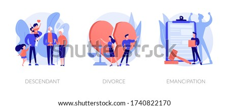 Society issues metaphors. Descendant, divorce, emancipation. Marriage annulment, social rights, gender equality. Wife and husband break up abstract concept vector illustration set. Photo stock ©