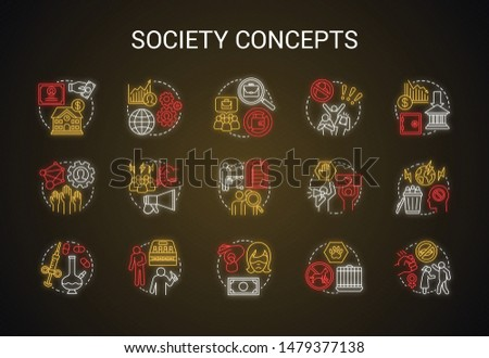 Society neon light concept icons set. Social issues, behavioral problems idea. Violence and abuse, unemployment, crimes. Social conflicts. Glowing alphabet, numbers. Vector isolated illustration
