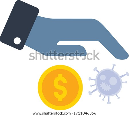 Socio-economic impact of the 2019 20 coronavirus pandemic concept vector Flat Icon , human tragedy on white background, Hand with Virus and Coin Design, Poor Buying Power Symbol Zdjęcia stock ©
