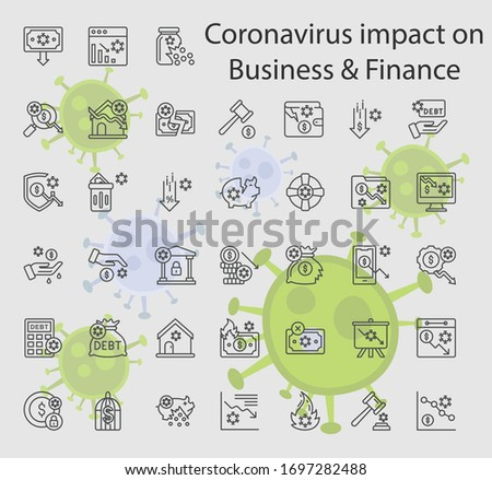 Socio-economic impact of the 2019–20 coronavirus pandemic Vector Icon set, Bankruptcy and financial crisis symbol on white background, Economic consequences after novel spreading Design Symbol,  Zdjęcia stock ©
