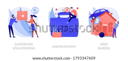 Socio-economic outbreak impact abstract concept vector illustration set. Supporting volunteering, unemployment, debt burden, public health, economic crisis, unemployment rate abstract metaphor. Zdjęcia stock ©