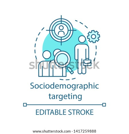 Sociodemographic targeting turquoise concept icon. User behavior idea thin line illustration. Behavioral analytics for marketing vector isolated outline drawing. Customer prediction. Editable stroke
