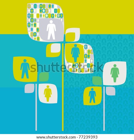 sociology human tree with people pictogram