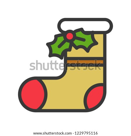 sock and mistletoe,cute christmas and winter related set,suitable for use as material.editable outline