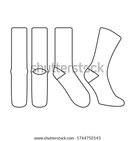 Sock vector illustration flat outline template
