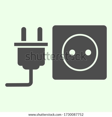 Socket with plug solid icon, unplugged cable jack and socket symbol, glyph style pictogram on white background. Apartment sign for mobile concept and web design, vector graphics. Photo stock ©