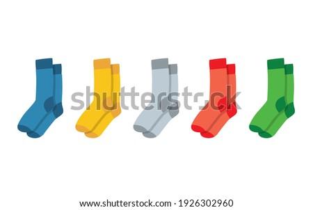 Socks for adults and children. Colorful rainbow socks. Man socks set. Vector illustration
