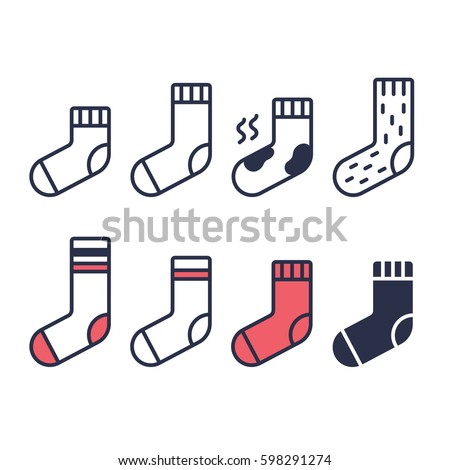 Socks line icons set. Different type of length, color and material. Simple geometric vector symbols.