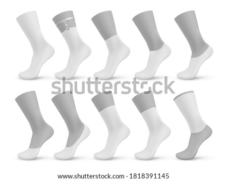 Socks types. Realistic blank different pairs of stocking, 3D mockup templates set of no-show, low-cut, ankle, mid calf, over the calf. Products on mannequins with shadow vector isolated illustration